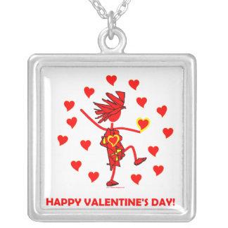 Happy Valentine's Day Square Pendant Necklace