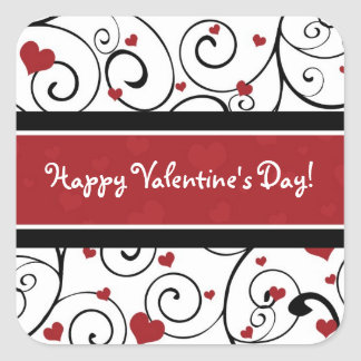 Happy Valentine's Day Stickers Hearts and Swirls