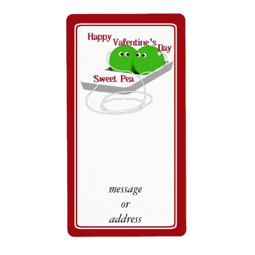 Happy Valentine's Day, Sweet Pea Personalized Shipping Labels