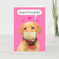 Happy Valentine's Day Talking Puppy in Face Mask Holiday Card