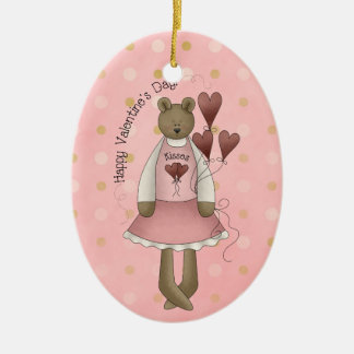 Happy Valentine's Day Teddy Bear Kisses Ornament