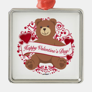 Happy Valentine's Day! Teddy Bear Metal Ornament