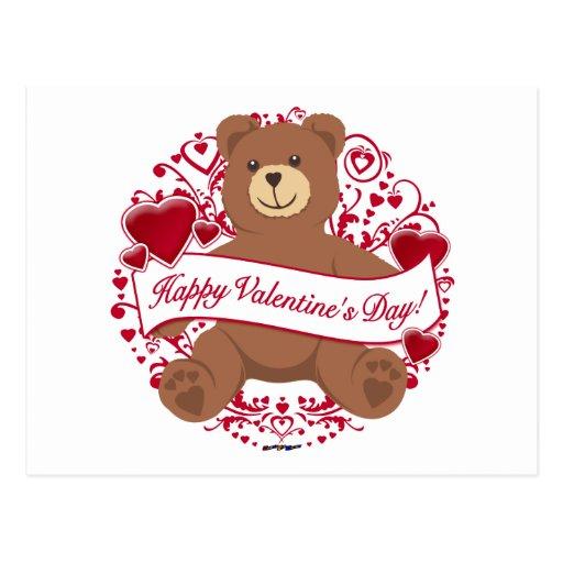Happy Valentine's Day! Teddy Bear Postcard