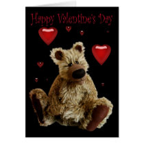 Happy Valentines Day Teddy Bear with Hearts Card
