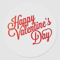 Happy Valentine's Day Text Classic Round Sticker