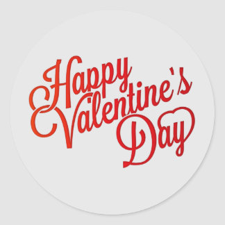 happy valentines day text classic round sticker