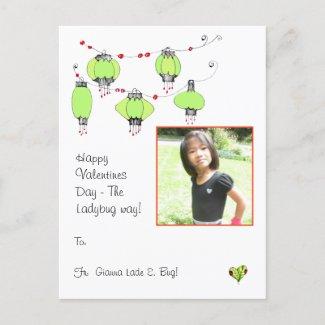 Happy Valentines Day the Ladybug way postcard