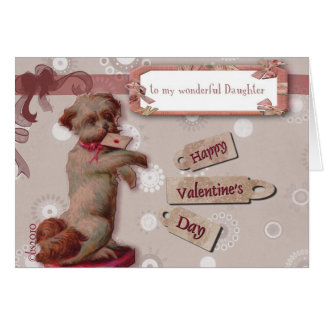 happy valentine's day to my daughter cute dog card