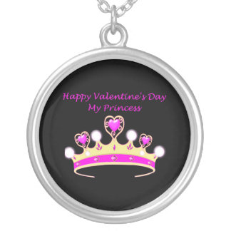 Happy Valentine's Day to my Princess with tiara Round Pendant Necklace