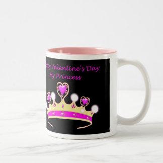 Happy Valentine's Day to my Princess with tiara Two-Tone Coffee Mug