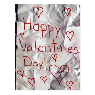 Happy Valentine's Day, torn and taped together Postcard