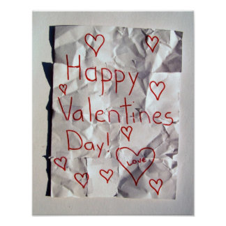 Happy Valentine's Day, torn and taped together Poster