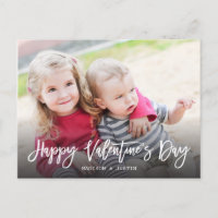 Happy Valentine's Day Trendy Script Photo Postcard