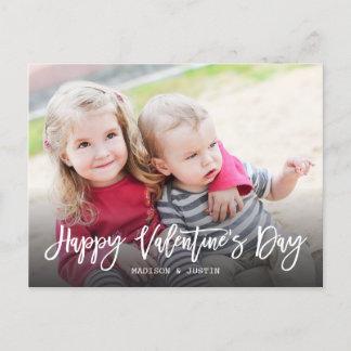 Happy Valentine's Day Trendy Script Photo Postcard