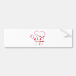 Happy Valentines Day Two Pink Hearts Car Bumper Sticker