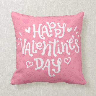 Happy Valentine's Day Typography | Throw Pillow