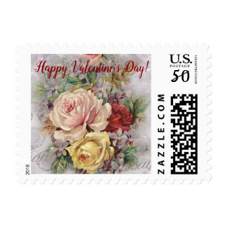 Happy Valentine's Day Vintage Floral Bouquet Roses Postage