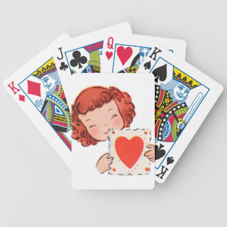happy valentines day vintage old school love bicycle playing cards