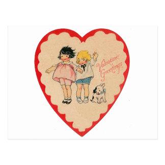 happy valentines day vintage old school love postcard