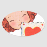 happy valentines day vintage old school love oval stickers