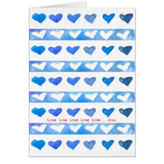Happy Valentine's Day Watercolor Hearts Love You Card