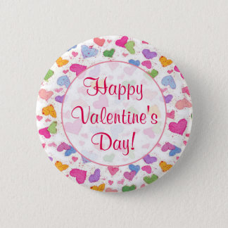 Happy Valentine's Day Watercolor Pastel Hearts Pinback Button