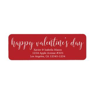 Happy Valentine's Day White Script Label