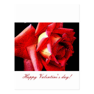 Happy Valentines day with artsy roses Postcard