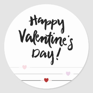 * Happy Valentine's Day with Hearts on Lines Classic Round Sticker