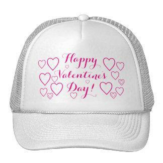 Happy Valentine's Day with Pink Hearts Trucker Hat