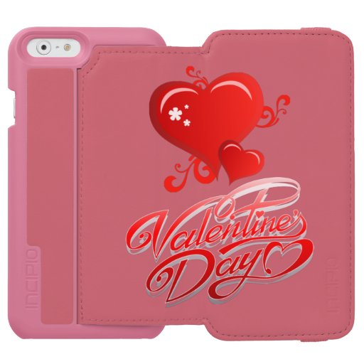 happy valentines day with red hearts iPhone 6/6s wallet case