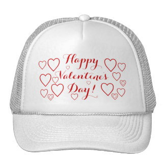 Happy Valentine's Day with Red Hearts Trucker Hat