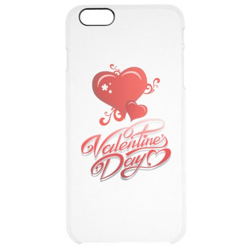 happy valentines day with red hearts clear iPhone 6 plus case