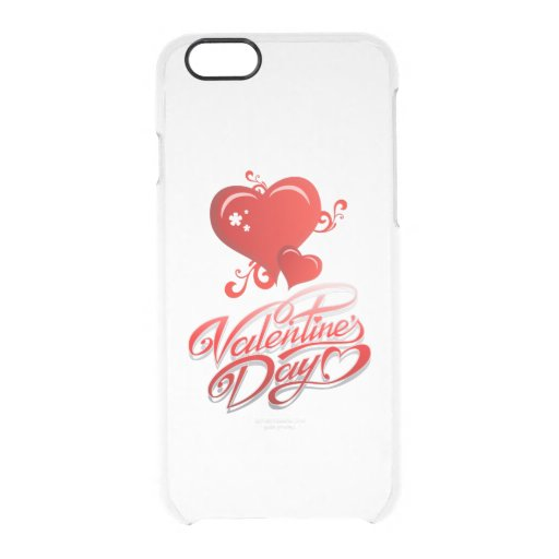 happy valentines day with red hearts clear iPhone 6/6S case
