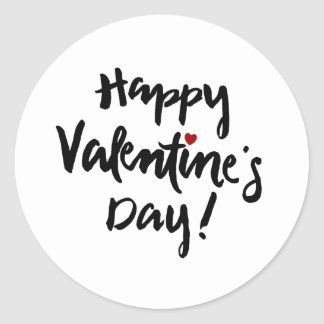 Happy Valentine's Day with Tiny Red Heart Classic Round Sticker