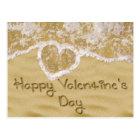 """""""Happy Valentine's Day"""" written in sand - Postcard"""