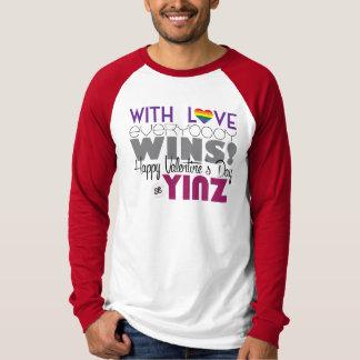 Happy Valentine's Day Yinz Baseball Tee - Rainbow