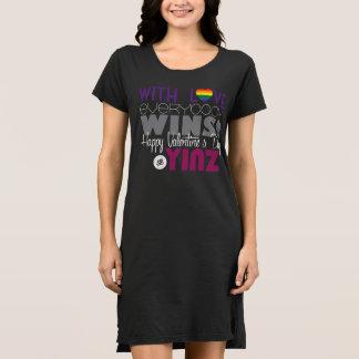 Happy Valentine's Day Yinz Tshirt Dress - Rainbow