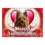 Happy Valentines Day Yorkie Greeting Cards