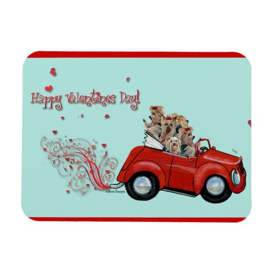 Happy Valentine's Day Yorkies Magnet