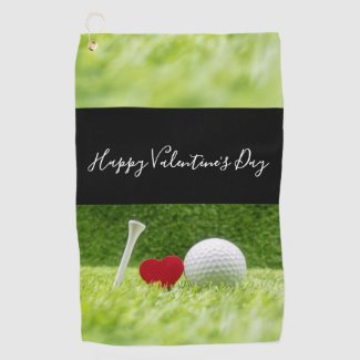 Happy Valentine's golfer with love and golf ball Golf Towel