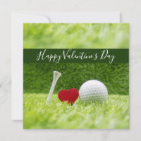 Happy Valentine's golfer with love and golf ball Holiday Card