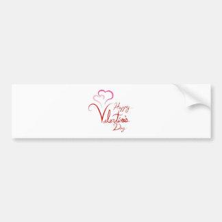 Happy Valentines Handwriting Pink Linked Hearts Car Bumper Sticker