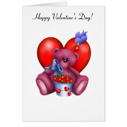 Happy Valentines Heart Bear 1 Card