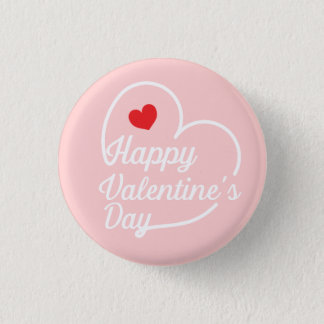 Happy Valentine's Heart Swash Pinback Button
