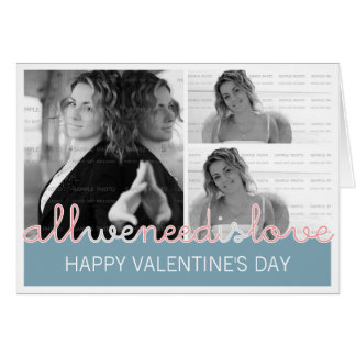 Happy Valentines Photo Greeting Card 3 Images