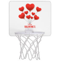 Happy Valentine's Red Balloons | Holidays Mini Basketball Hoop