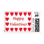 Happy Valentines, red hearts postage stamps