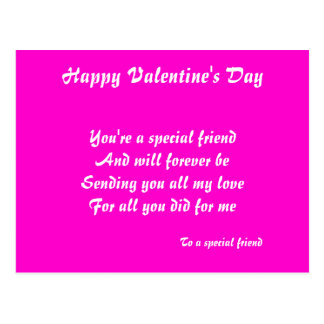 Happy valentine's to a special friend postcards