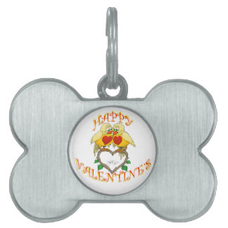 Happy valentine's, two love birds, pets name tag. pet tag
